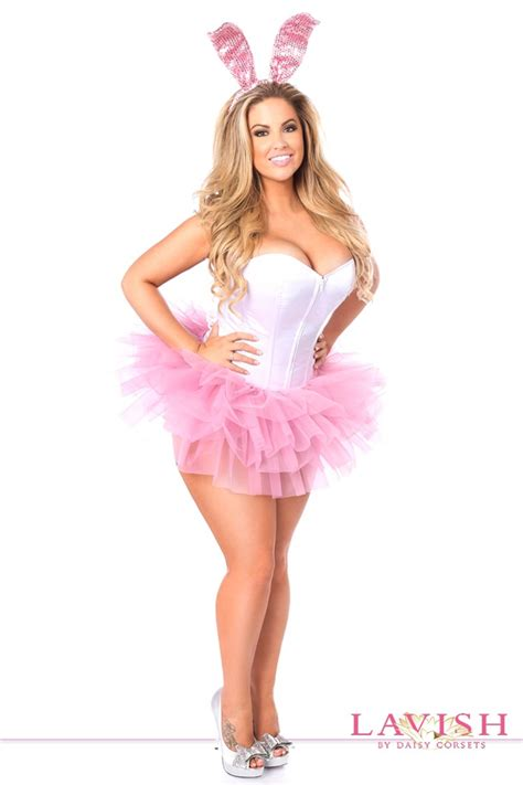 bunny costume pink white sequins bunny costume