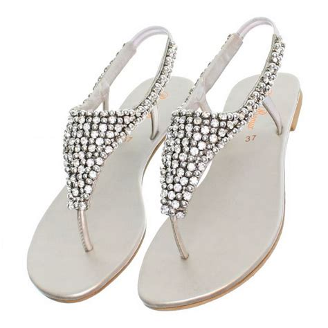 cheap flat silver shoes for wedding details about womens flat diamante sparkly toe post silver