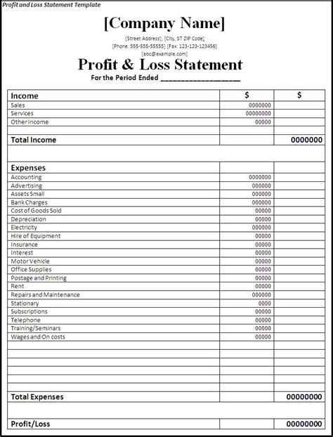 Profit And Loss Statement Self Employed Blank Ideal Vistalist Co Profit And Loss Statement Template For Self Employed