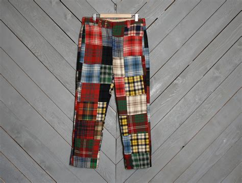 Patchwork Mens - 1960s plaid s patchwork wool golf trousers