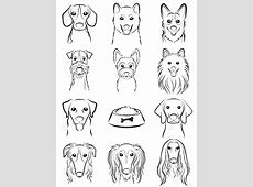 Dog / Line Drawing Royalty Free Cliparts, Vectors, And ... Easy Dog Face Drawing