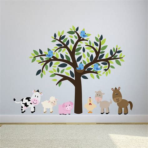 childrens animal wall stickers childrens tree with farm animals wall sticker set by