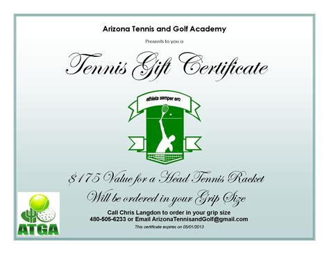 tennis gift certificate template arizona tennis and golf academy current tennis specials