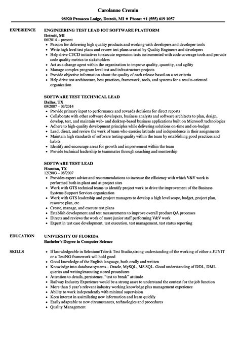 test lead resume format test lead resume resume ideas