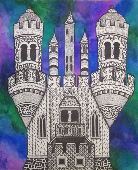 architecture lessons middle school art lessons zentangle castles with watercolor middle school lesson art ideas