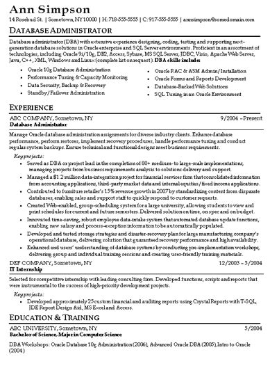 Oracle Dba Resume Exles by Sql Database Administrator Resume Sales Administrator Lewesmr