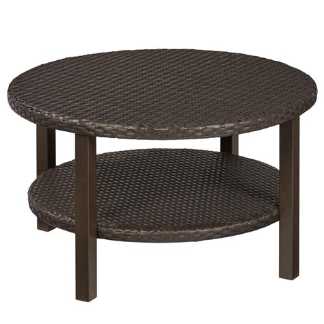 what to put on a coffee table hton bay torquay outdoor coffee table with shelf