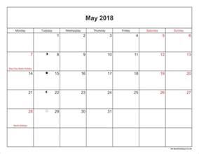 Calendar 2018 May May 2018 Calendar Printable With Bank Holidays Uk