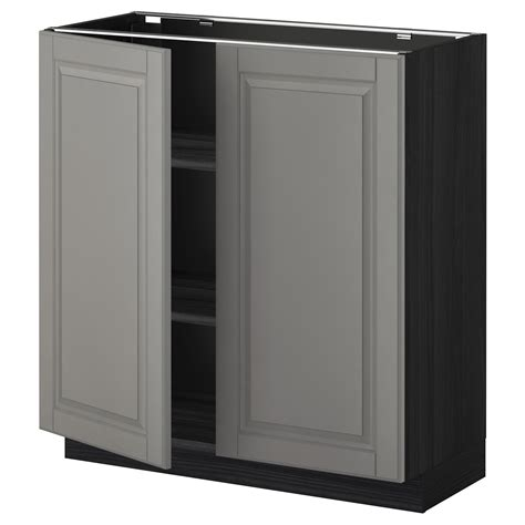 metod base cabinet with shelves 2 doors black bodbyn grey