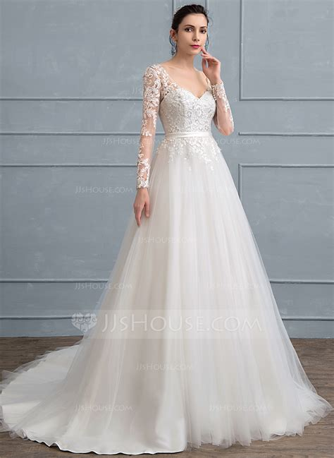 hochzeitskleid jjshouse ball gown v neck court train tulle lace wedding dress with