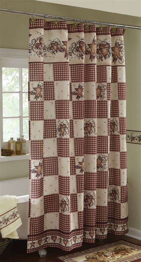primitive curtains pinterest linda spivey primitive hearts and stars country shower