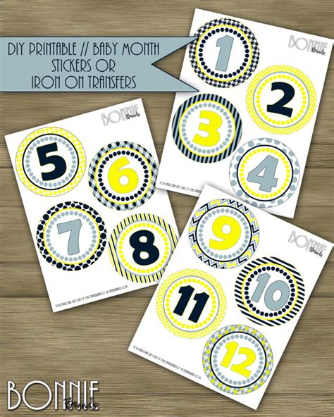 printable iron on stickers printable diy monthly baby stickers or iron on transfers