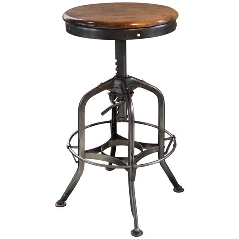 commercial wood bar stools original vintage industrial toledo backless wood and metal