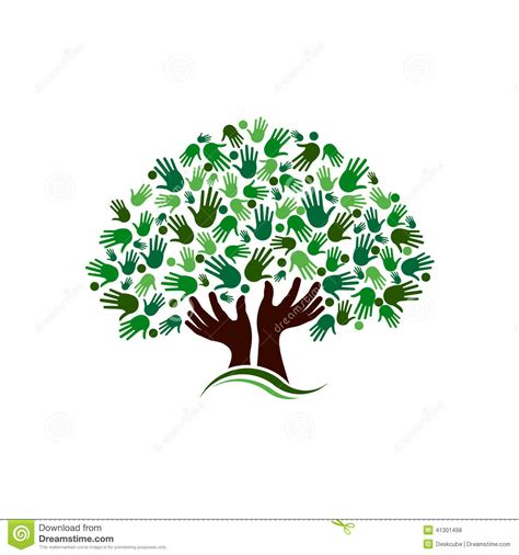 Tree Toaster People Logo Tree Hands Stock Vector Image 41301498