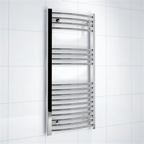 electric bathroom towel rails b q kudox silver towel warmer h 1000mm w 450mm departments