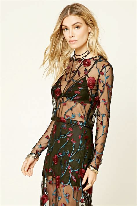 mesh tops mesh and top pattern on pinterest forever 21 floral embroidered mesh top pradux