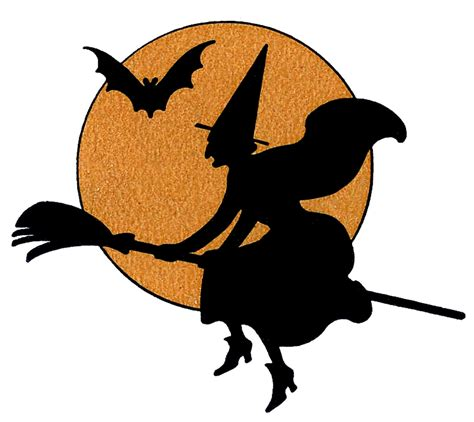 vintage halloween clip art witch with moon the