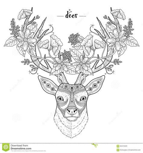 abstract deer coloring page elegant deer head stock vector image 60472220
