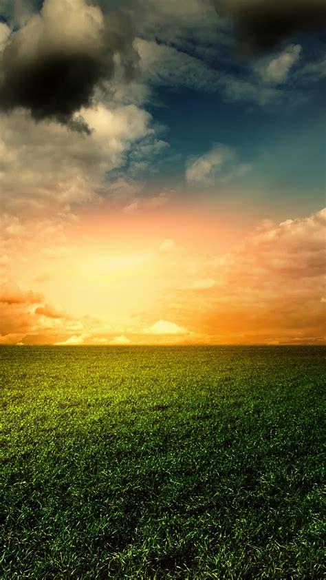 wallpaper green grass golden sky landscape clouds