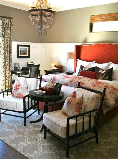 eclectic bedroom ideas bright coral and tan bedding technique curtain tiebacks
