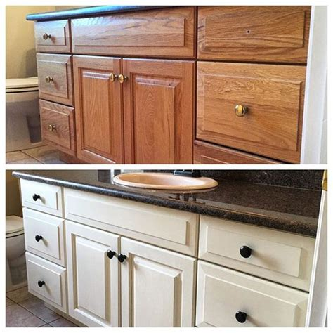 chalk paint bathroom cabinets this week s bathroom cabinet revival we used two coats of