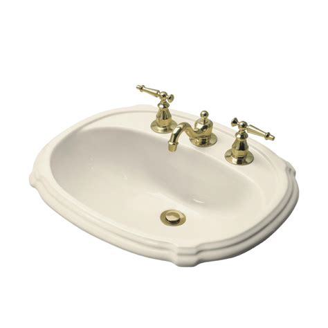 bathroom drop in sink shop kohler portrait almond drop in oval bathroom sink