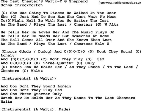 waltz lyrics country the last cheater s waltz t g sheppard lyrics