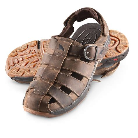 rugged shark sandals s rugged shark 174 greenwich sandals brown 208811 sandals flip flops at sportsman s guide