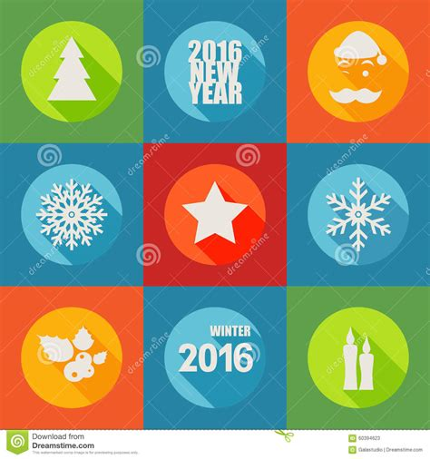 new year icon set happy new year 2016 flat icons set with berry