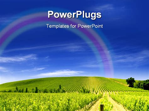 agriculture powerpoint templates a vibrant green vineyard a clear blue sky powerpoint