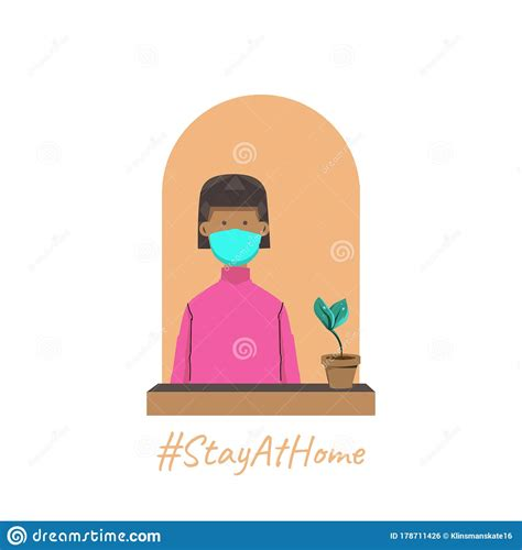 Stay Home Cartoon Pic