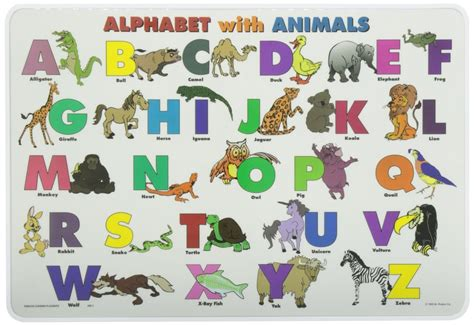 learn the alphabet learn abc with animal pictures teach your child to recognize the letters of the alphabet abcd for books alphabet animals placemat the rainbow