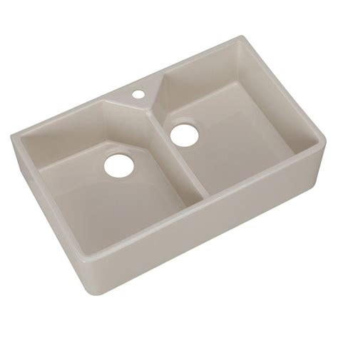 Pegasus Kitchen Sinks Pegasus Farmhouse Apron Front Fireclay 32 In 1 Bowl Kitchen Sink In Bisque Fs31 1bq
