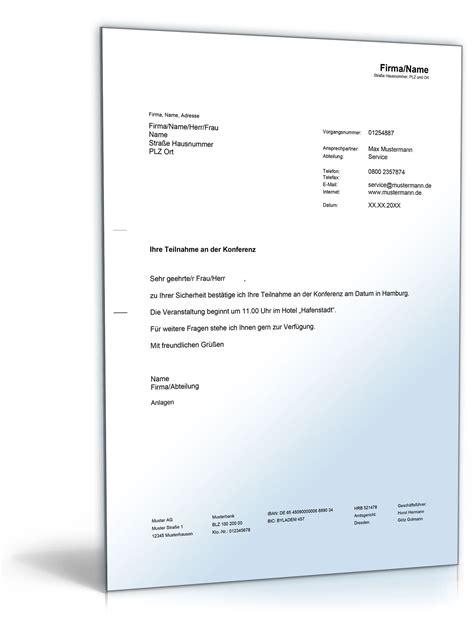 Musterschreiben Angebot Absage Best 228 Tigung Einer Konferenzteilnahme De Musterbrief