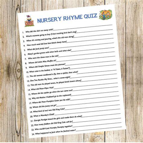 Nursery Rhyme On Storybook Baby Book Baby Shower Nursery Rhyme Quiz Storybook Book