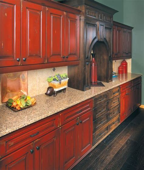 rustic red kitchen cabinets rustic painted kitchen cabinets google search kitchen