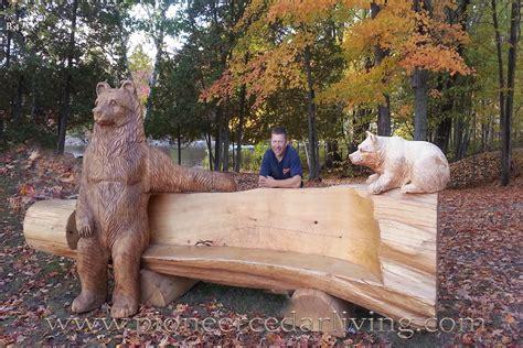 cedar log bench pioneer cedar living bear chainsaw carving cedar log bench pioneer cedar living