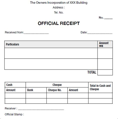 official receipt template free sle official receipt template documet pdf