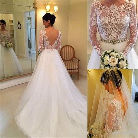 white lien wedding dresses formal white lace sleeve bridal gown