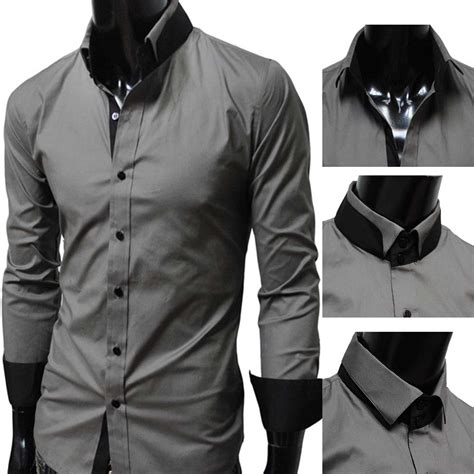 Black Gray Casual Shirt by 17 S Casual Collar Sleeve Dress Shirt