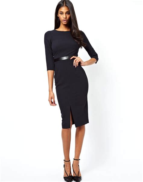 The Waistcincher At Asoscom by Asos Asos Pencil Dress With Cross Back And Leather Look