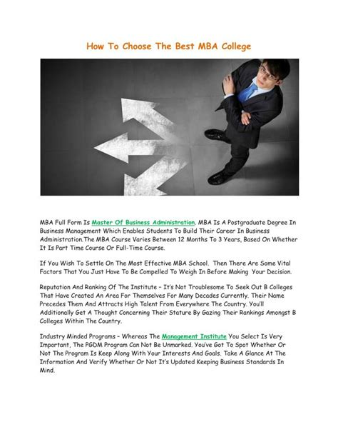 How To Select A College For Mba by Ppt How To Choose The Best Mba College Powerpoint