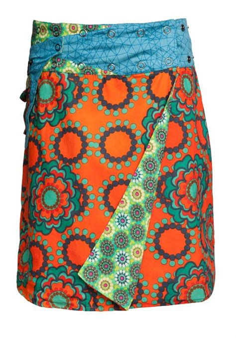 100 cotton reversible wrap skirt with press stud