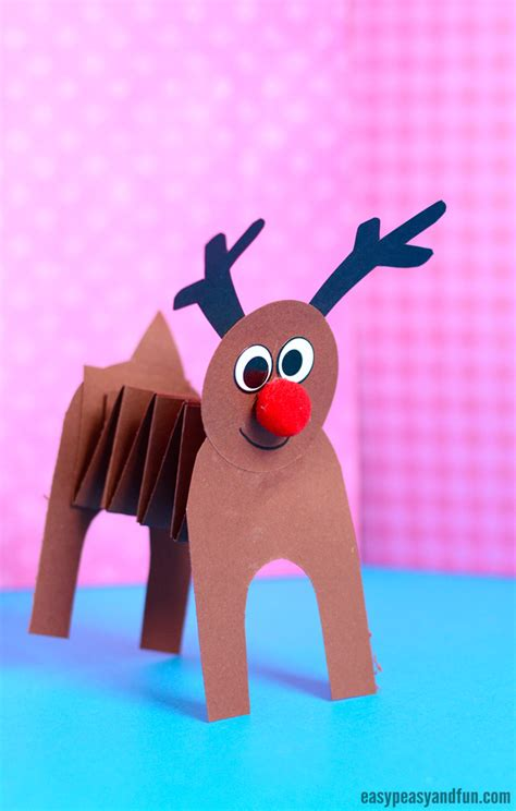 reindeer paper crafts accordion paper reindeer craft easy peasy and