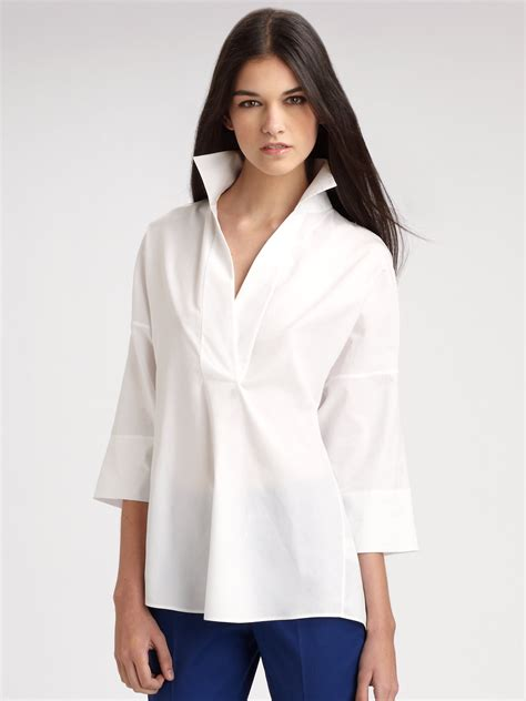 White Cotton Blouses For by White Cotton Tunic Blouse Collar Blouses