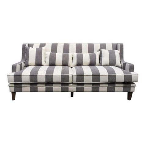 cape cod three seater sofa in grey stripe linen luxe