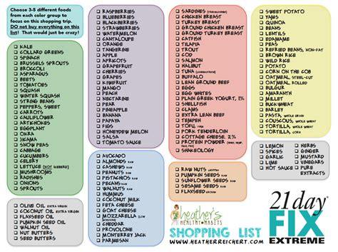 printable shopping list for 21 day fix heather reichert 21 day fix extreme meal planning tools