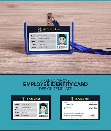 Free Company Employee Identity Card Design Template One Dollar Graphics Card Design Template
