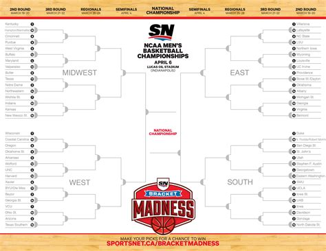 sportsnet bracket challenge printable bracket ncaa basketball chionships