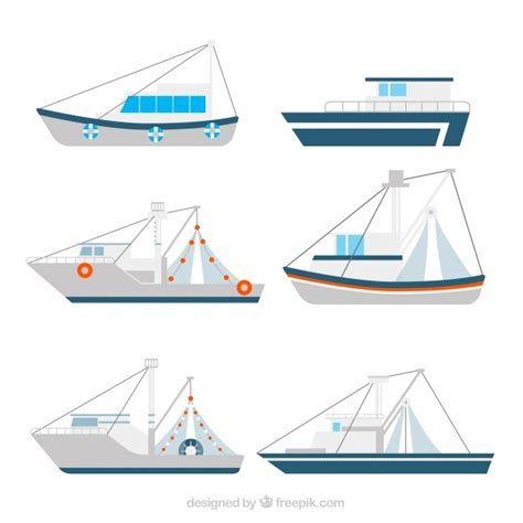 fishing boat vector collection of fishing boats in flat design vector free